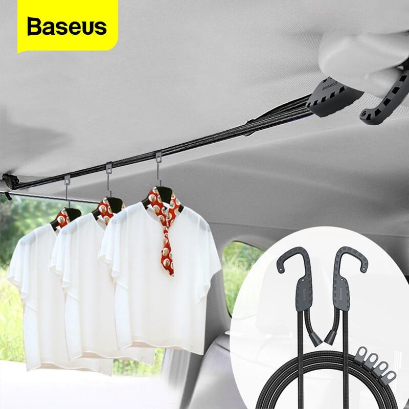 BASEUS Car Coat Hanger ปรับความตึงเครียดเข็มขัด Clothesline สายคล้องอัตโนมัติแจ็คเก็ต Rack แบบพกพาเสื้อผ้าผู้ถือแ...