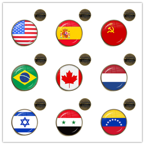 Soviet Union,Brazil,Canada,Netherlands,Israel,Syria,Venezuela,United States,Spain National Flag Brooch Collar Pins Jewelry Gift(China)