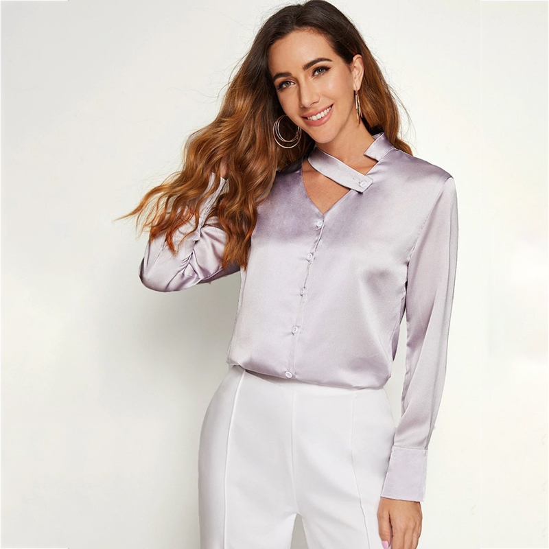 European and American fashion shirt trends Blouses Single-breasted long-sleeved blouse with irregular neckline in satin