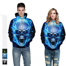 2019 3D Couple Hoodies & Sweatshirts Spring Autumn Digital Printing Skull Hooded Loose Men Fashion
