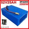 51.8V 52V bateria 52V 25AH bateria litowa 52V 25AH bateria do rowerów elektrycznych 58.8V 5A ładowarka do silnika 48V 1000W 2000W