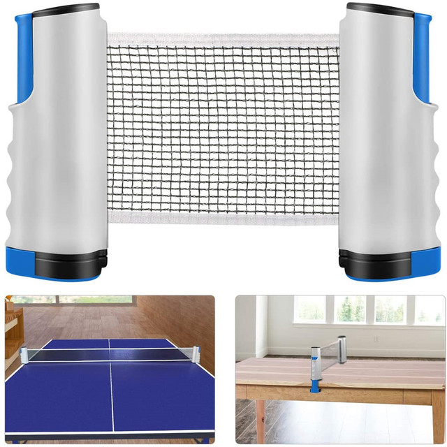 Replacement adjustable ping pong net retractable table tennis net  + bracket clamps for any table portable indoor outdoor sports