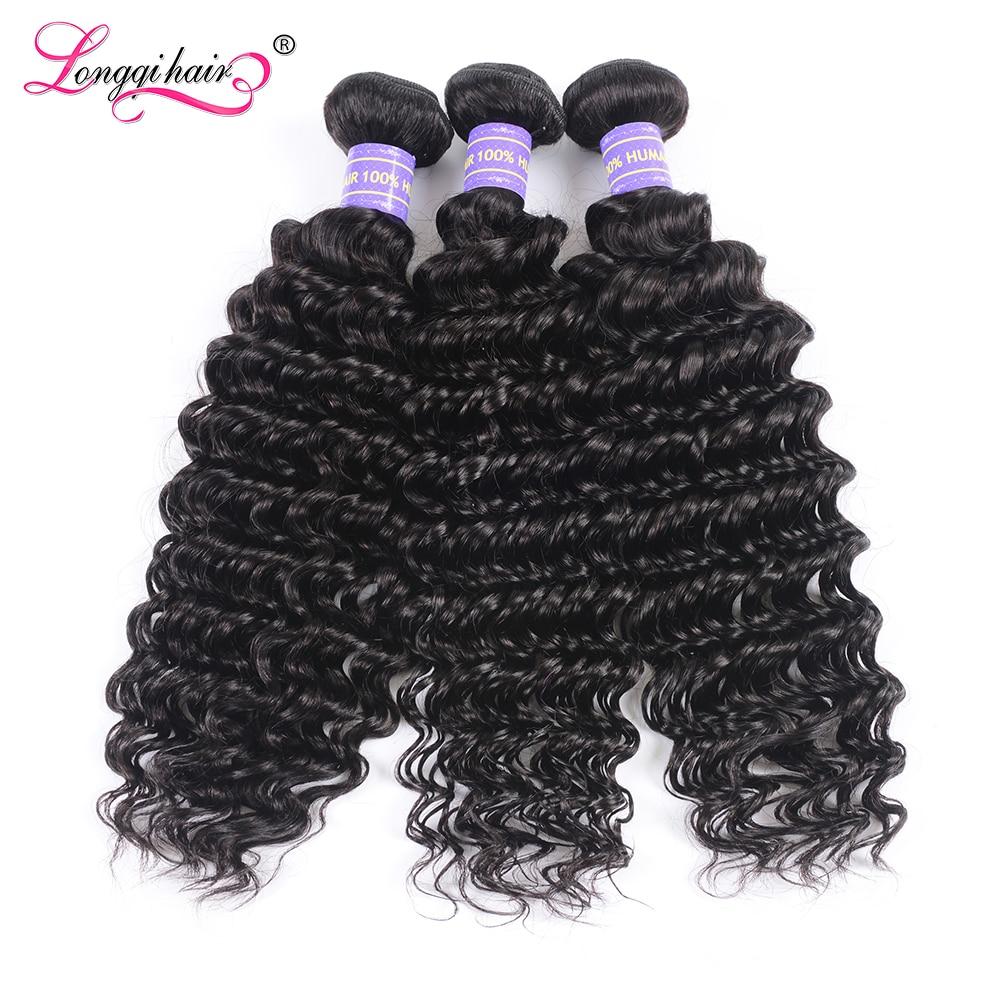 Mechones de ondas profundas extensiones de cabello humano brasileño, mechones de pelo humano rizado profundo, tejido de pelo humano Remy Longqi de 8 - 26 pulgadas, 1, 3 y 4 Uds.