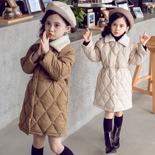 Korean Fashion Teenage Girl Warm Coat Winter Jacket For Girls Cotton-Padded Long Parka Coats Kid Outerwear Snowsuit Teen Clothes цена в Москве и Питере