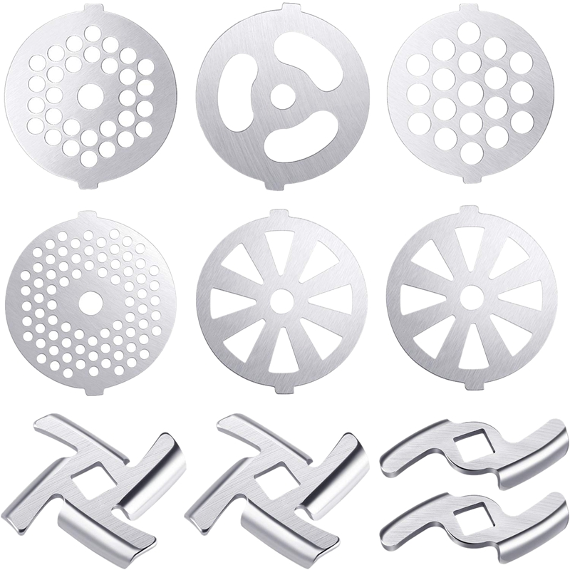 Top Deals 9 Pcs Meat Grinder Blades Meat Grinder Plate Discs Stainless Steel Food Grinder Accessories For Size 5 Stand Mixer And