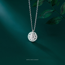 MODIAN Authentic 925 Sterling Silver Shiny Zircon Rotatable Disc Pendant Necklace for Women