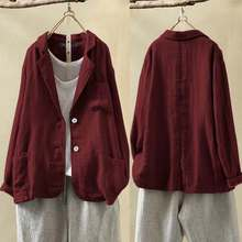 ZANZEA 2020 Vintage Women Casual Loose Blazers Cotton Linen