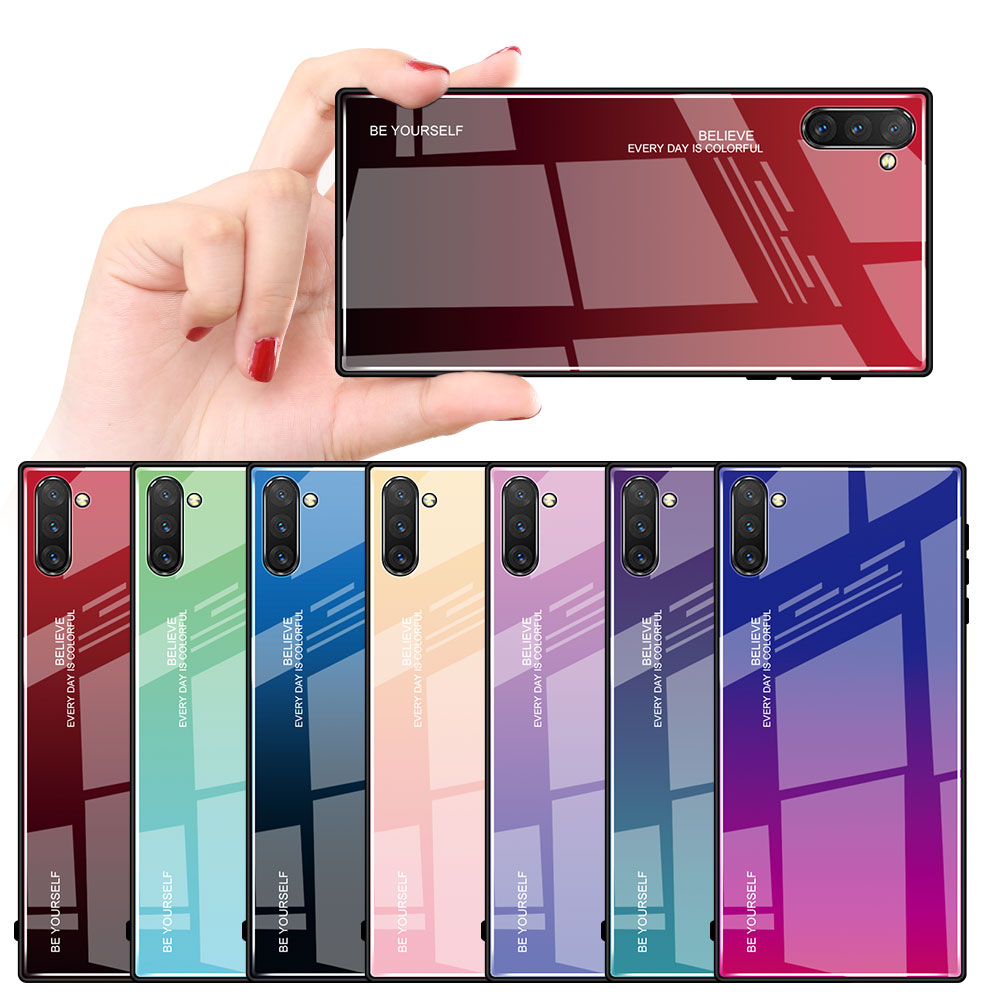 Gradient Tempered Glass Phone Cases For Samsung Galaxy Note 10 Pro Note 10 Plus A80 A40 A20 A20E Soft Silicone Edge Cover Case