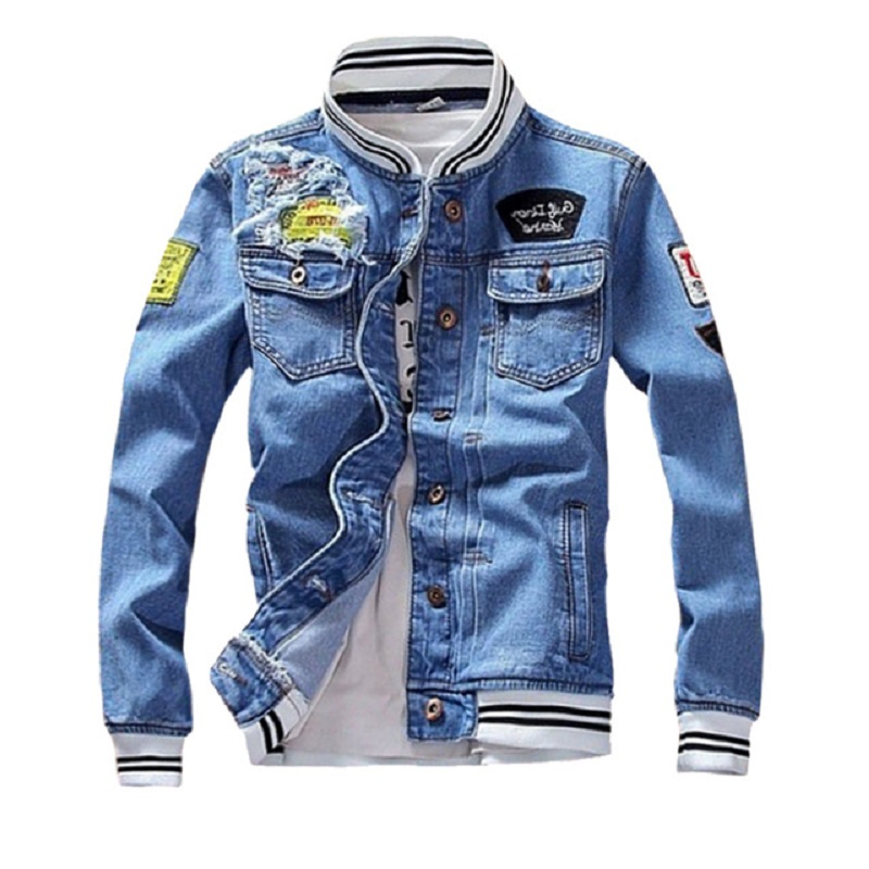 Mens Denim Jacket 2020 New Spring Casual Slim Fit Stand Collar Pilot Zipper Jackets Male Streetwear Men Loose Jean Fashion Coats
