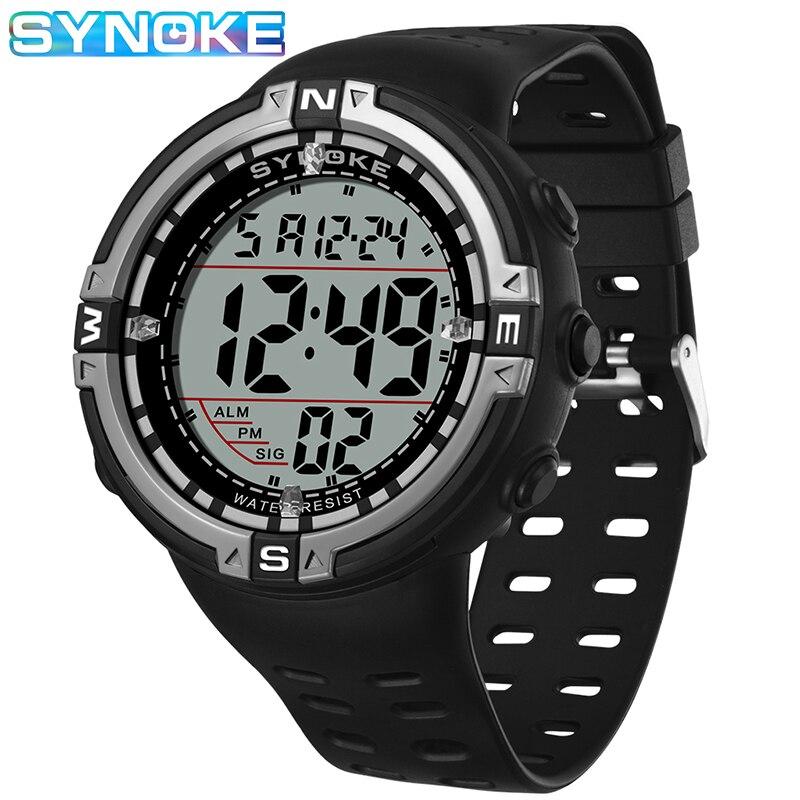SYNOKE Männer Digitale Uhren Outdoor Sport Leuchtende Wasserdichte Stop Uhren Große Zifferblatt Relogio Masculino Männer Elektronische Uhren