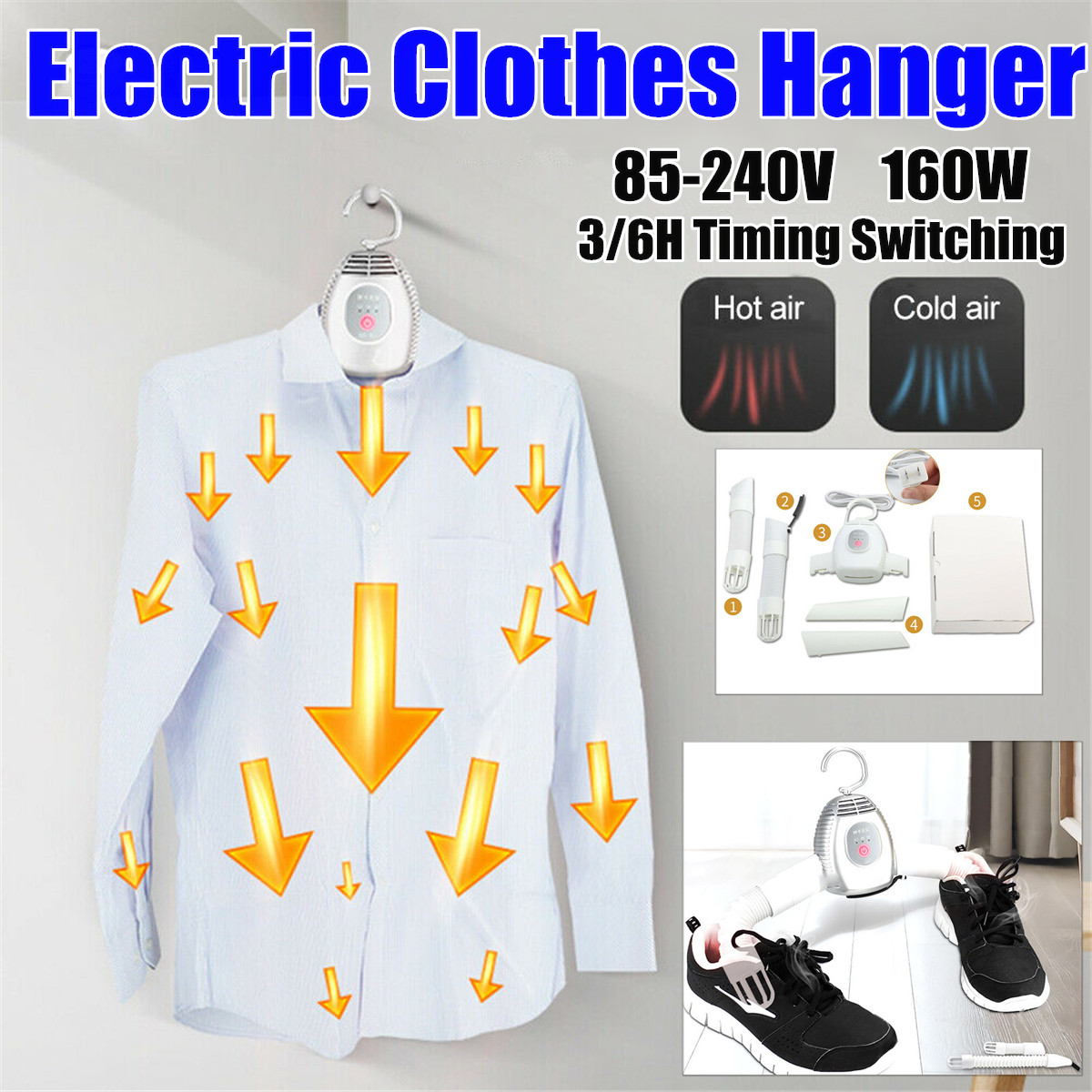 85-240V Electric Clothes Drying Rack Smart Clothes Hanger Dryer Rack Portable Outdoor Travel Mini Folding Clothing Shoes Heater