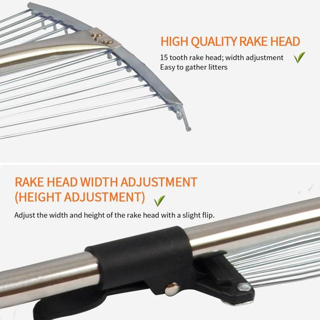 Stainless Steel Garden Leaf Rake With Telescopic Handle