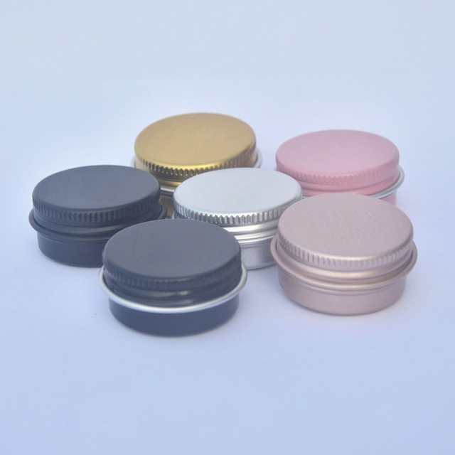 10Pcs Cream Jar Round Tin Cosmetic Lip Balm Containers Nail Craft Pot Refillable Bottle Screw Thread Lids Empty Aluminum Cans