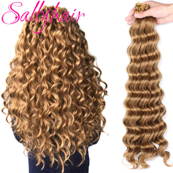 Sallyhair Deep Wave Crochet Braids Hair High Temperature Synthetic Braiding Brown Red Color Bulk Extensions - discount item  48% OFF Synthetic Hair