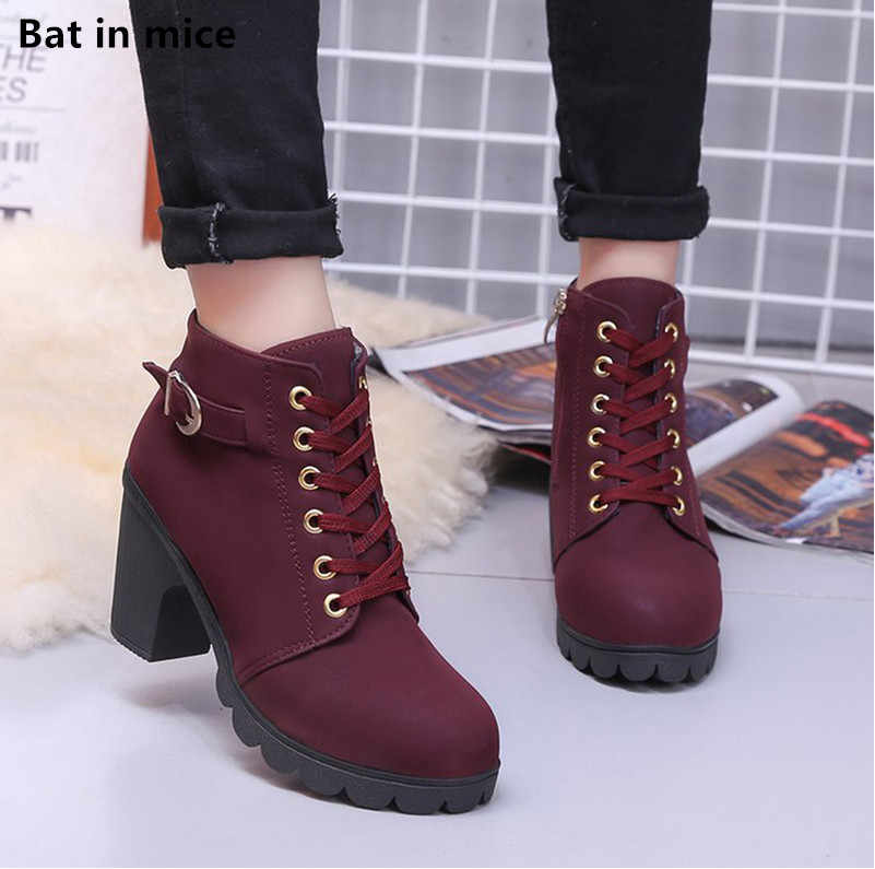 New Winter Women Platform High Heels Ankle Boots Women Boots Buckle Shoes Thick Heel Short Martin snow Boots Ladies mujer T090