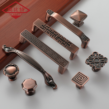 AOBT Cabinet antique copper pull handle European style antique door handle cabinet drawer wine bottle cabinet red ancient handle chinese antique copper small beast head knocker handle lion head handle door handle classical shop first