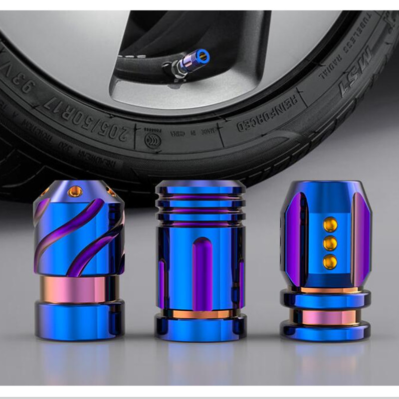 2Pcs/Set Universal Colorful Car Valve Caps Metallic Bullet Wheel Caps Dustproof Rustproof Hub Caps For Tire Car Exterior Parts