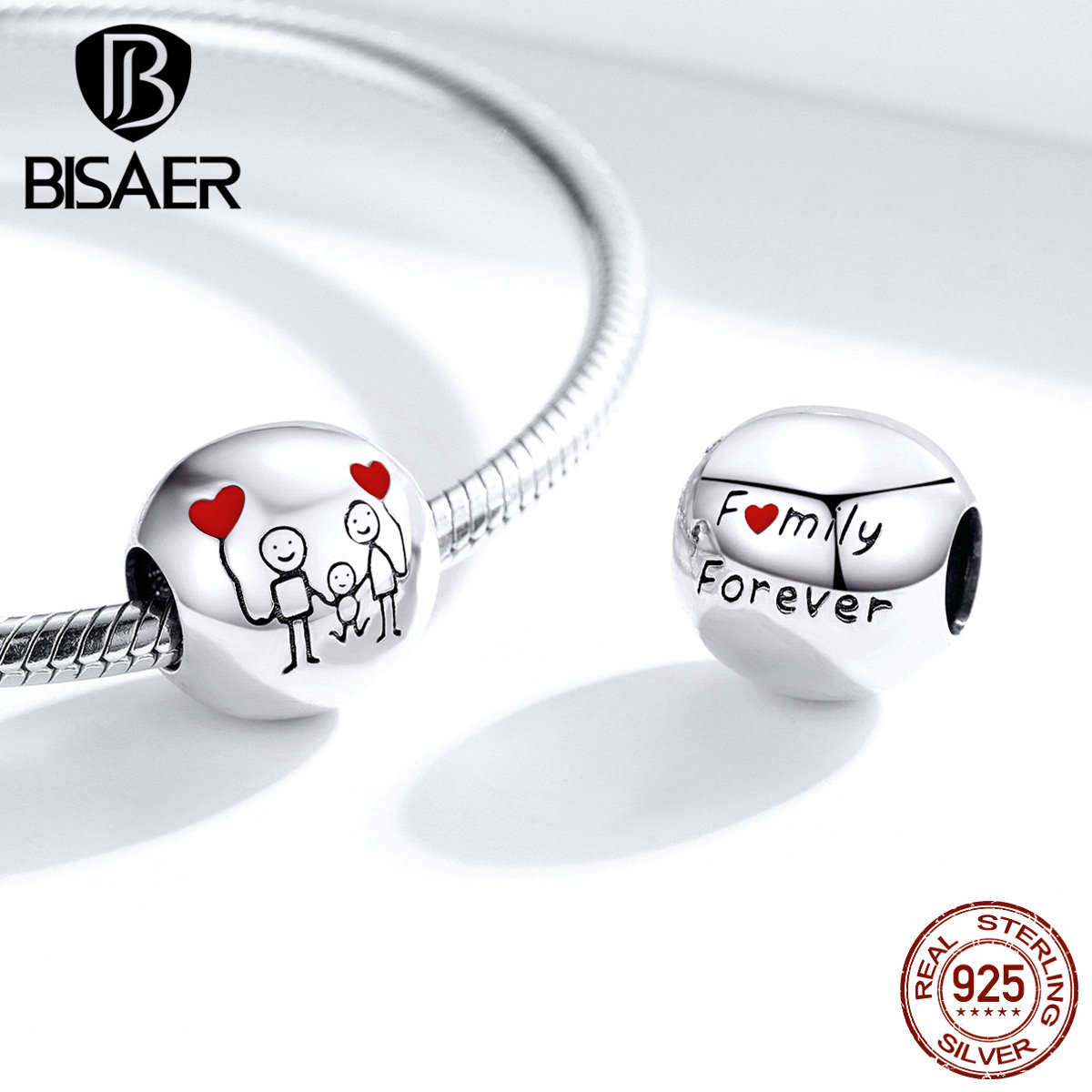 Image 2 - Family Beads BISAER Hot Sale 925 Sterling Silver Sweet Family Photo Beads Charms fit Charm Bracelets DIY Jewelry ECC1339Beads   -