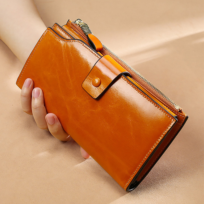Dicihaya Retro Genuine Leather Women Wallet Female Cell Phone Pocket Long Women Purses Hasp Zipper Lady Coin Purse Card Holder