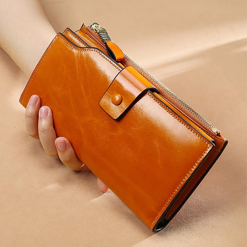 Dicihaya Retro Genuine Leather Women Wallet Female Cell Phone Pocket Long Women Purses Hasp Zipper Lady Coin Purse Card Holder