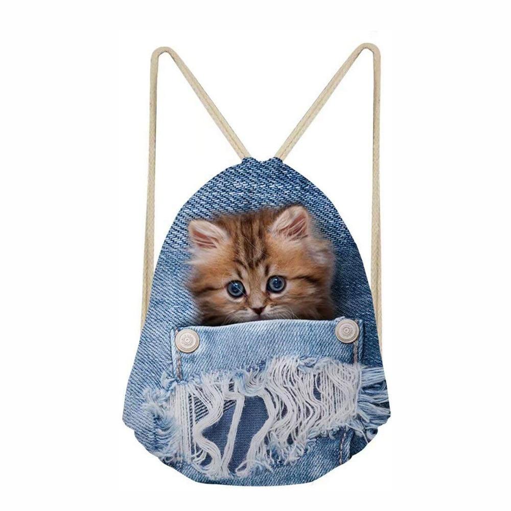 Denim 3D Cat Drawstring Bag Fashion Drawstring Bags For Women Girls Backpack Kids String Rucksack Travel Storage Pouch 2019