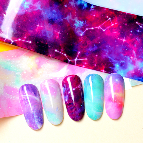1 Box Nail Foil Sticker Set Holographic Starry Sky Adhesive Wraps Transfer Paper Marble Shining Nail Art Decal Gel Slider Islamabad