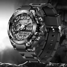 LIGE-reloj militar para hombre, resistente al agua hasta 50m, reloj deportivo con alarma LED