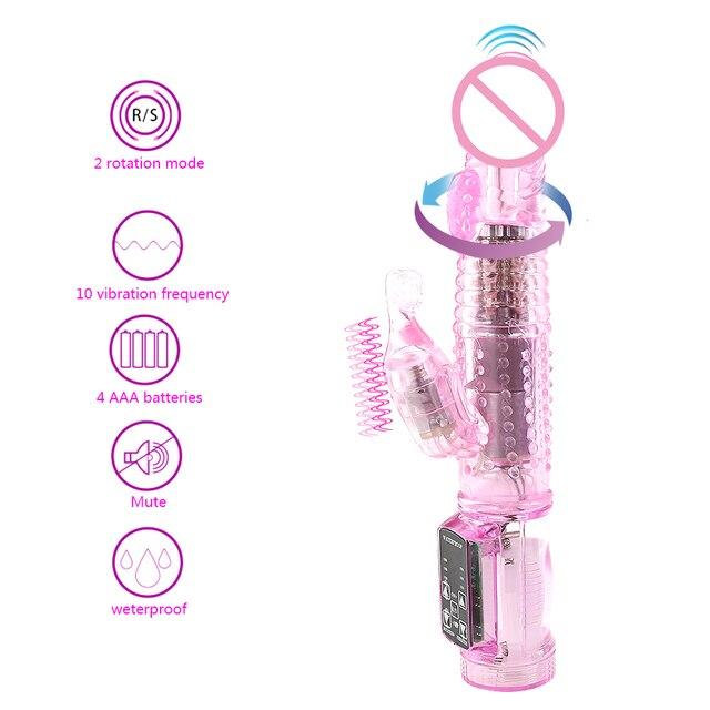 Rabbit Vibrator,Realistic Dildo Penis Vibrator Clitoris Stimulat Massager Transparent Rotating Beads Female Sex Toys For Women 5