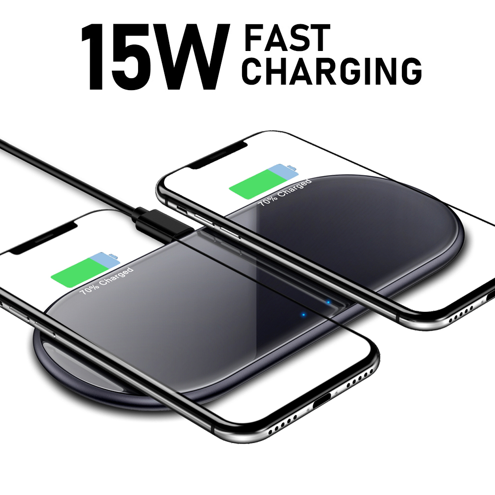 15W QI Wireless Fast Charger Usb Tpye C QC 3.0 Quick Charging For Iphone Samsung S9 Mobile Phone Airpods Pro 2 SIKAI Dual 30W