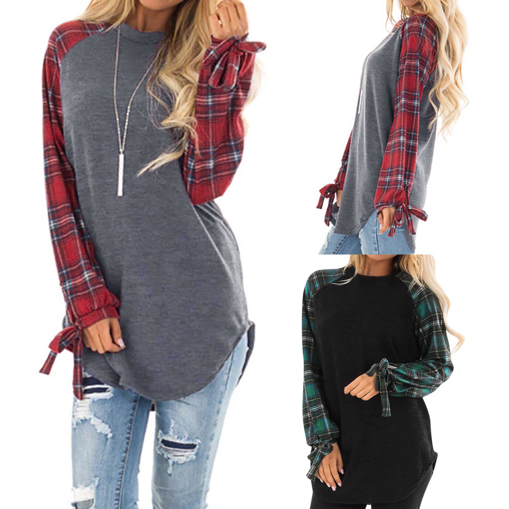 Women Plaid Patchwork Autumn Loose Casual Stitching Color Long Sleeve Pullover Female Sweatshirt Femme O-Neck Sweatshirt#3s