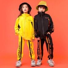 Детский костюм в стиле хип хоп, желтый, черный свободный костюм с курткой и брюками, Одежда для танцев, хип хоп, для мальчиков и девочек