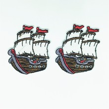 50pcs Boat Embroidered Patches for Clothing Iron on Backpack Clothing Applique DIY Decoration Carton Badge Embroidery Stickers 1pc landscape embroidered patches for clothing sew on tree embroidery parches for backpack clothing applique decoration badge