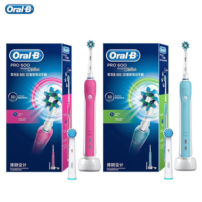 Oral B PRO600 Electric Toothbrush 3D Action Clean Whitening Automatic Timer Power Rechargeable Tooth Brush Replacemnt Brush Head image