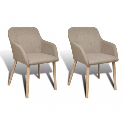 Neoclassical Coffee Chair Elegant Armchair Oak Frame Beige Dining Chair (2 Pieces)