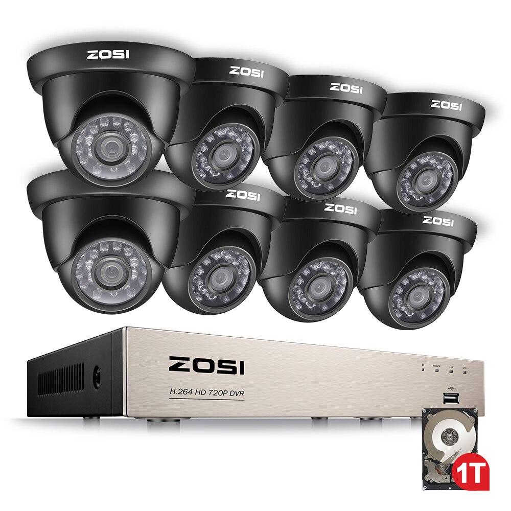 ZOSI 1280TVL 1080N DVR HDMI 720P HD Sistema de Câmera de Segurança Em Casa Ao Ar Livre 1 8CH CCTV DVR Kit De Vigilância Por Vídeo TB Conjunto Câmera