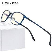 FONEX Ultem TR90 Anti lumière bleue lunettes hommes lunettes de Protection bloquant antibleu ordinateur de jeu lunettes femmes AB03