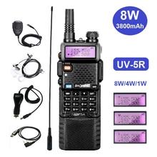 Walkie Talkie 8W Baofeng UV-5R Ham Radio Transceiver UV 5R VHF UHF Amateur CB Radio Station Extend Battery 3800mAh