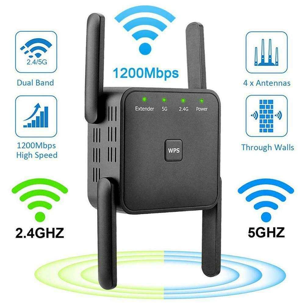 AC1200 Dual Band Wifi Repeater Wireless Range Extender 2.4G 5G 1200M Wall Repeater WiFi Amplifier Booster Home Networking