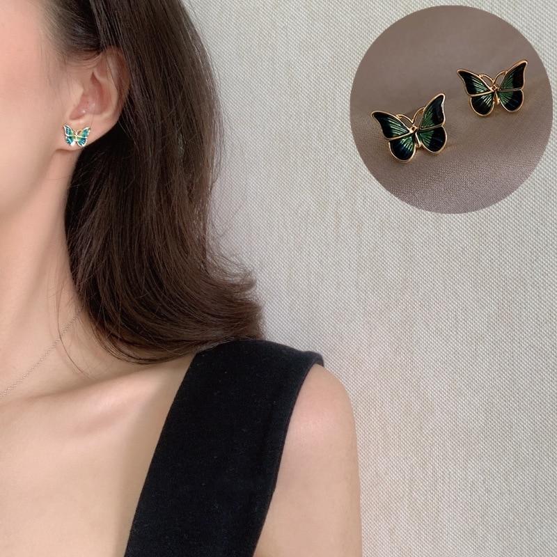 Sweet Green Enamel Butterfly Stud Earrings Delicate Gold Color Mini Ear Studs Trendy Ear Nails For Women Girls Jewelry Gift
