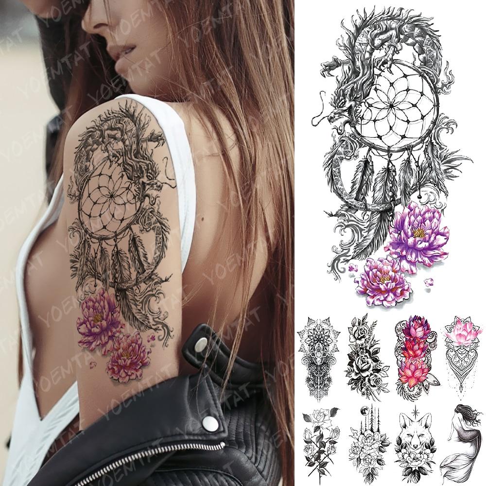 Waterproof Temporary Tattoo Sticker Dragon Dreamcatcher Lotus Flash Tattoos Flower Fox Mermaid Body Art Arm Fake Tatoo Women Men
