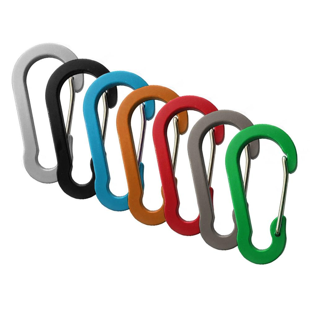 5 Hoist-Shaped Flat Aluminum Alloy Carabiner Multiple Color Wire Spring Hook Buckle No Rust Convenient Lightweight Hook Buckle