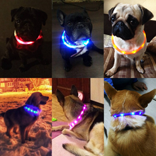 Chiens de compagnie chats USB Rechargeable clignotant nuit colliers lumineux collier lumière LED USB collier de chien brillant Teddy Flash collier animal de compagnie(China)
