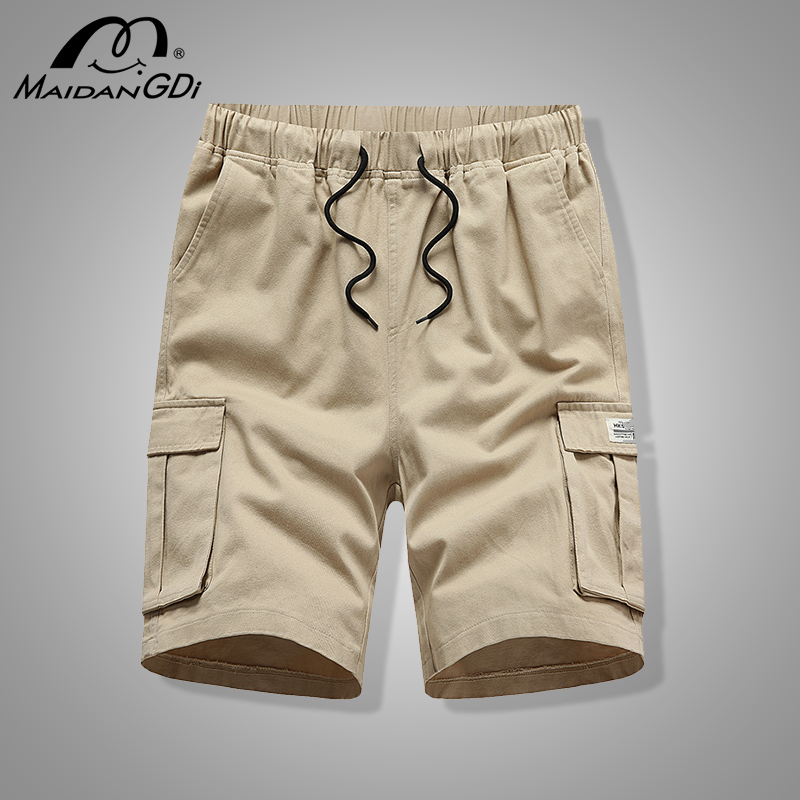 MAIDANGDI Brand Clothing Shorts For Men With Pockets 2020 Summer Homme Cotton Solid Color Sports  Beach Fashion Joggers Pants