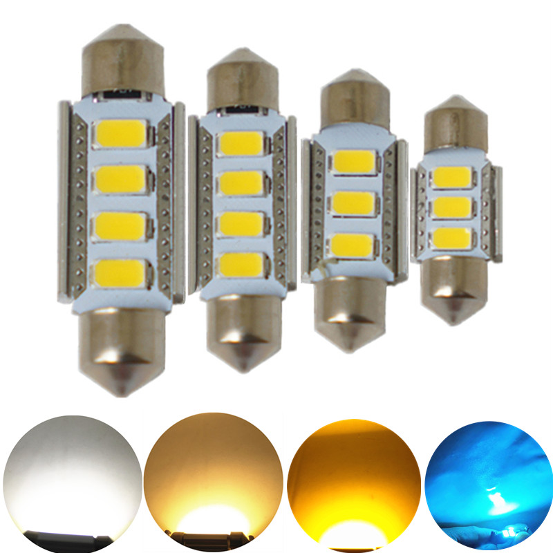 JGAUT 1PCS Bianco caldo giallo Canbus C5W 31mm 36mm 39mm 41mm 5730-SMD LED Festeon Bulbi Car Interior Map Dome Luce targa