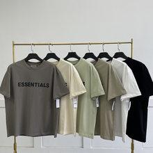 ESSENTIALS100% 1:1 Men's Women's Cotton Loose T-shirt Reflective Hip Hop Streetwear Short Sleeve Black T-shirt New 2021