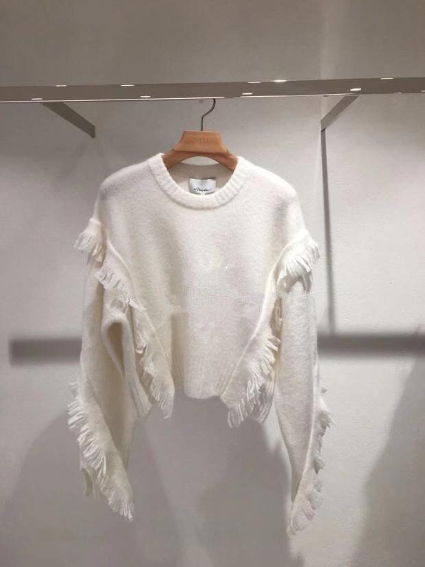 Fall/winter 2019 Black Sweater New Fringed Wool Mohair Pullover Short Knit Sweater Women Pullovers Women Sweater