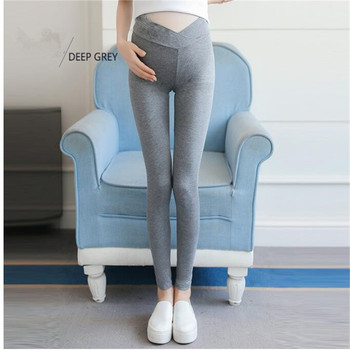 Pregnancy Leggings Thin Autumn Spring Low Rise V Cross High Waist Belly Modal Cotton Legins Black Dark Grey Lounge Pants image