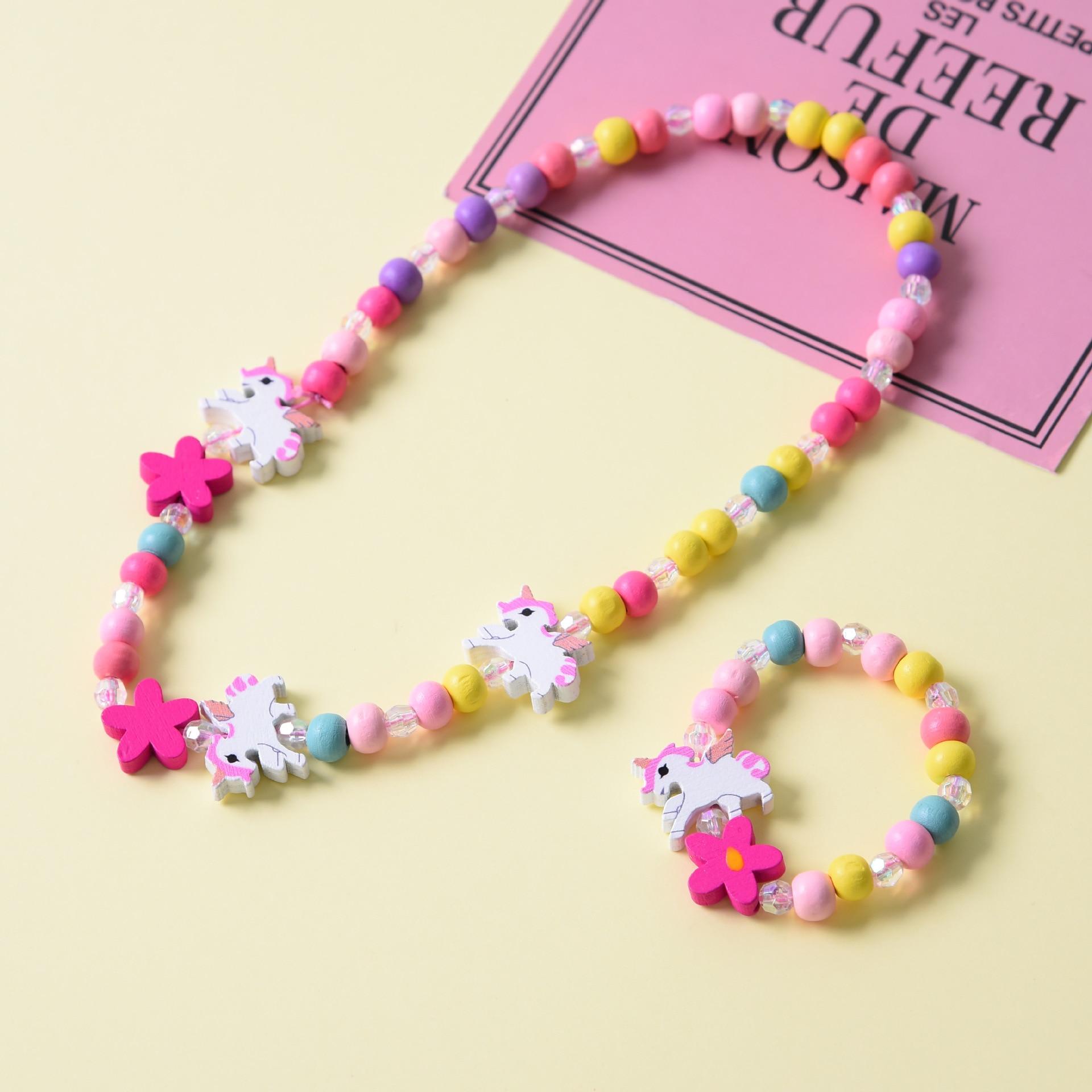 Cute Cartoon Wooden Flower Animal Child Sweater Necklace Bracelet Girl's Gifts Children Jewelry