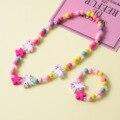 Милый мультяшный деревянный цветок животное детский свитер ожерелье браслет подарки для девочек детские ювелирные изделия