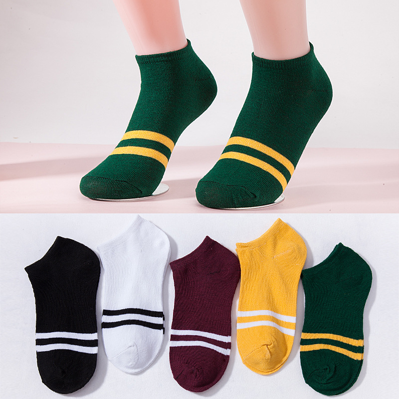 5 Colors Boat Models Invisible Line Socks Solid Color Polyester Patchwork Bobbysocks With Striped For Summer For Women Gifts